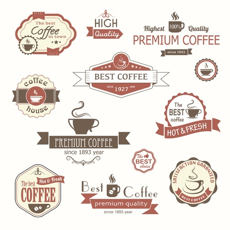 trade fair: set of coffee vintage badges and labels Illustration