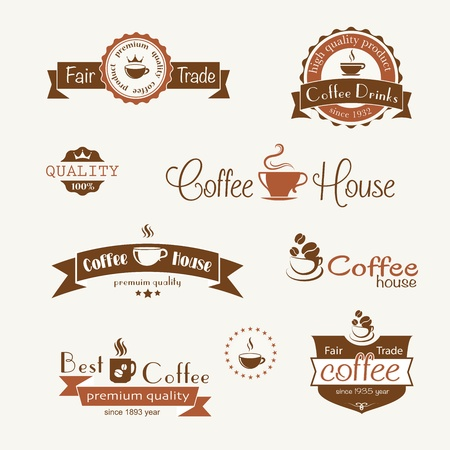 set van koffie vintage badges en labels Stock Illustratie