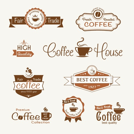 barista: set of coffee vintage badges and labels