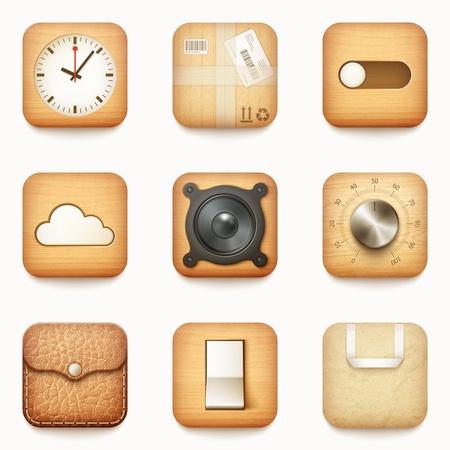 Sada tvarovaných dřevěných papíru a kůže app ikony na zaobleným rohem náměstí izolované
