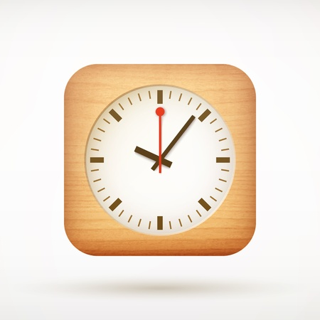 clock app icon on rounded corner square Vector