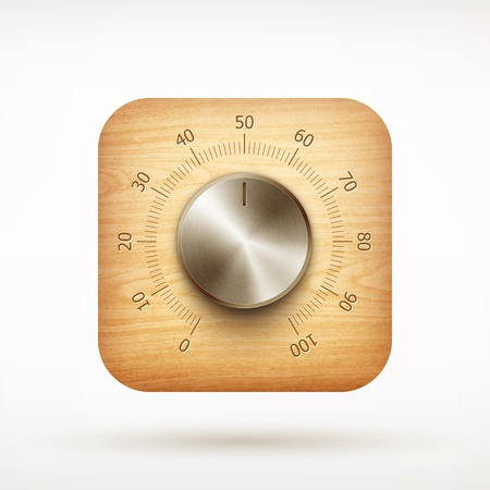 music metal volume knob app icon on rounded corner square illustration Vector