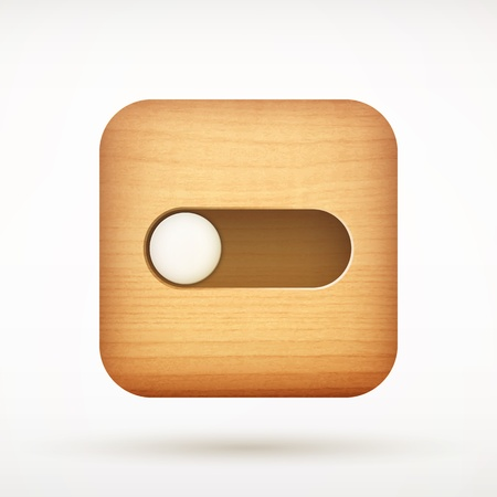 toggle: white toggle switch app icon on rounded corner wooden square illustration