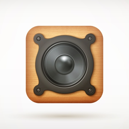 black metal music speaker app icon on rounded corner square  illustration Vector