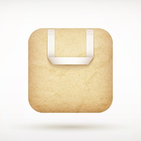 recycled paper shopping bag app icon on rounded corner square  illustration Vector