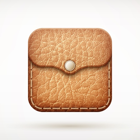 empty wallet: leather wallet app icon on rounded corner square  illustration Illustration