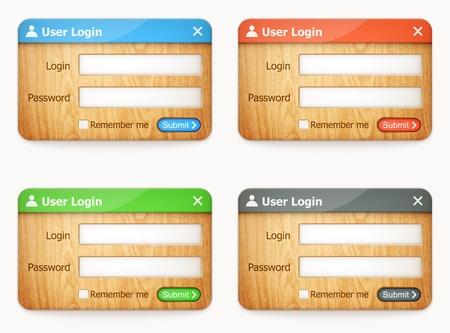 Sada barevných dřevěných přihlašovacích formulářů