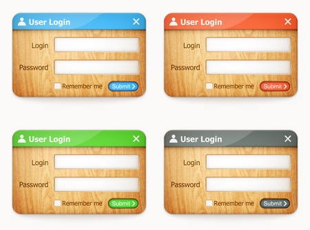 set of colorful wooden login forms Stock Vector - 20856476