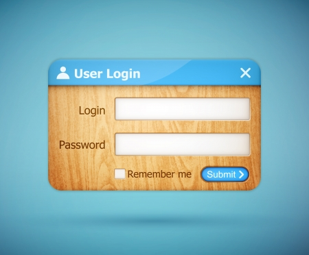 blue color wooden login form Stock Vector - 20856478