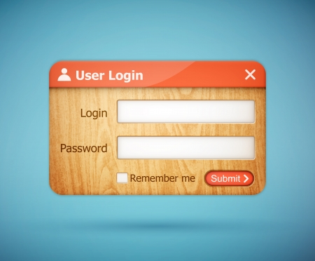 authentication: red color wooden login form