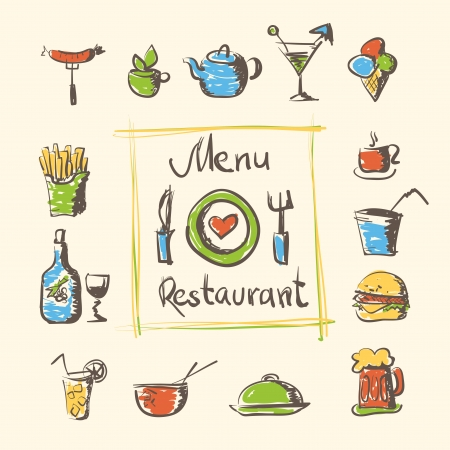 cafe menu food and drinks hand drawn icons Vector