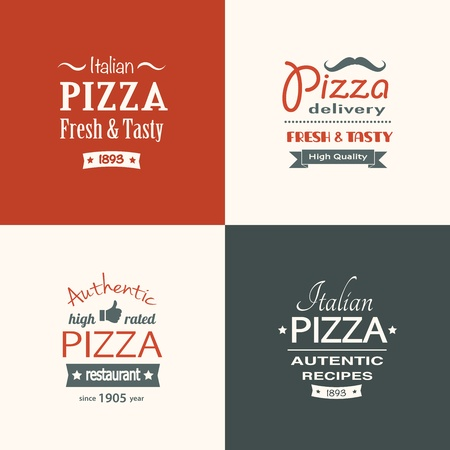 set of premium quality pizza labels  Vector