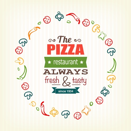 pizzeria label: pizza design template for menu, banner, advertising etc