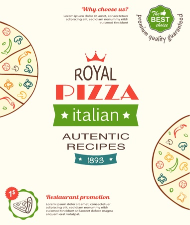 pizza design template for menu, banner, advertising etc  Vector