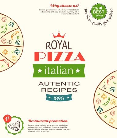 pizzeria label: plantilla de dise�o de la pizza para el men�, banners, publicidad etc