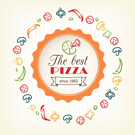 pizzeria label: pizza design template for menu, banner, advertising etc