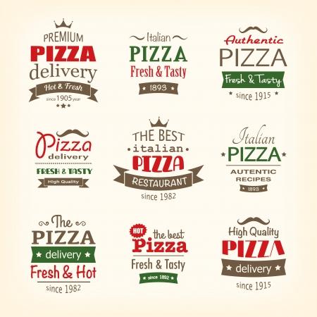 Sada prvotřídní kvality pizzu štítky