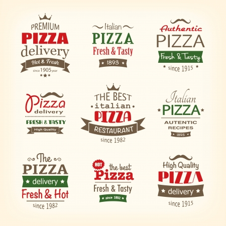 set of premium quality pizza labels  Illustration