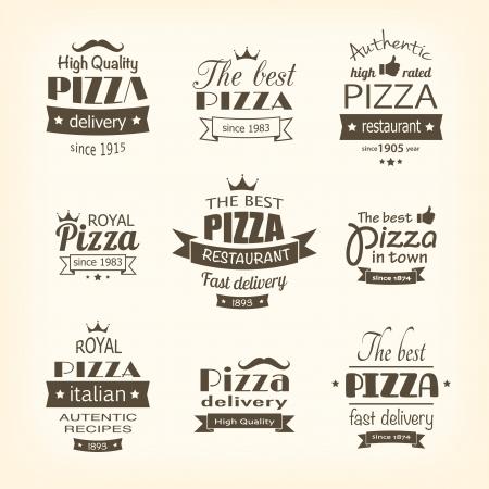 pizzeria label: conjunto de etiquetas de pizza de primera calidad