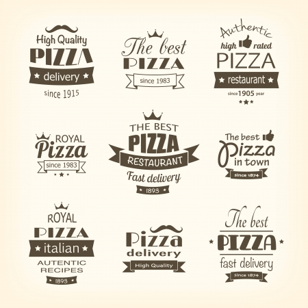 pizzeria label: set of premium quality pizza labels  Illustration