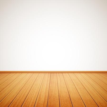 사실적인 나무 바닥과 흰 벽