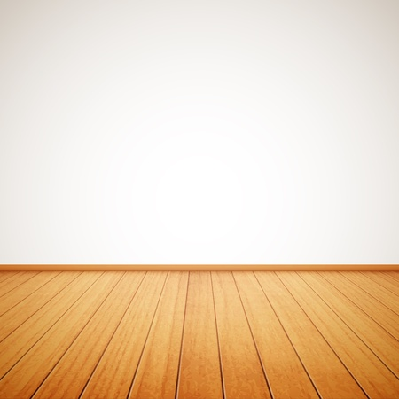 white wood floor: realistic wood floor and white wall Illustration