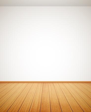 詳細な木製の床と白い壁