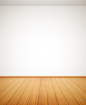 detailed wood floor and white wall Vector