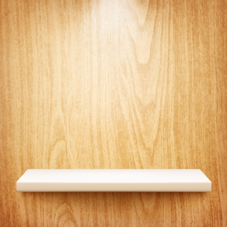 realistic white shelf on wooden wall  Vector