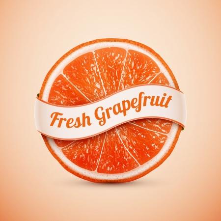 svěží grapefruit se stuhou Ilustrace