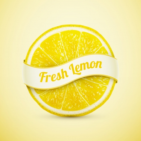 fresh lemon with ribbon