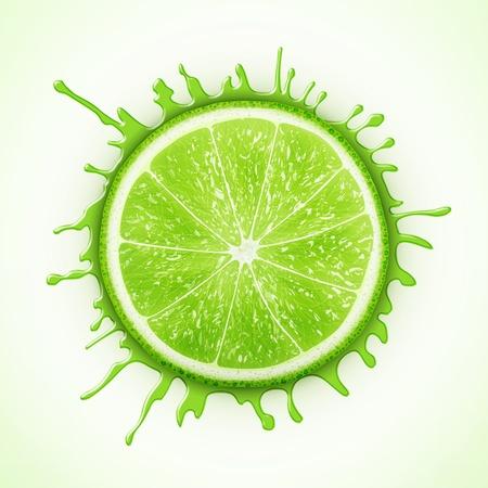 fresh lime with splash