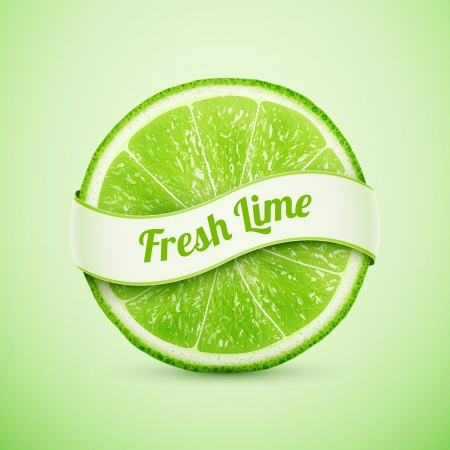 fresh lime with ribbon  Vector