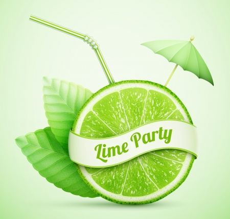 lime juice: fresh lime with ribbon and cocktail stick