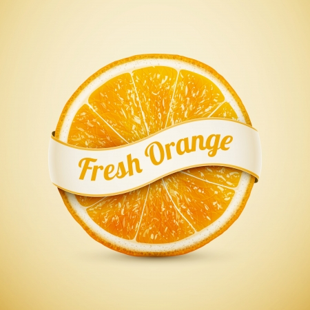 fresh orange with ribbon  Vector