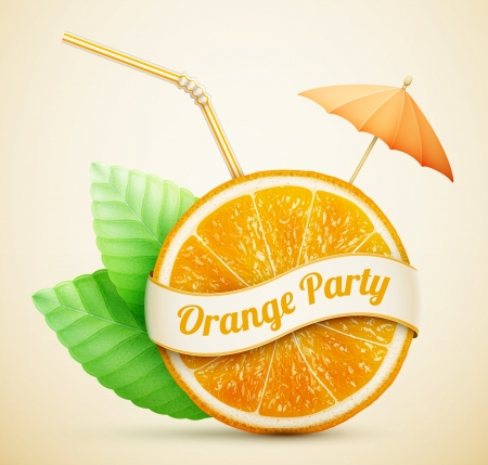 orange juice: fresh orange with ribbon and cocktail stick