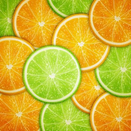 オレンジとライムのフルーツ スライスの背景