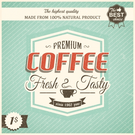 Vintage coffee poster with grunge effects