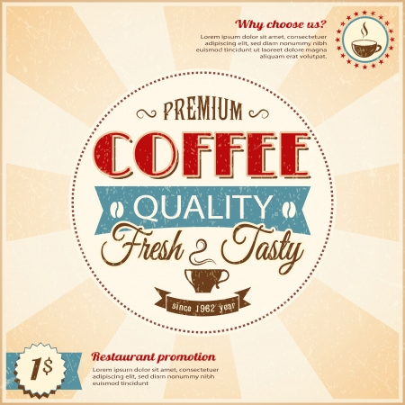 Vintage coffee poster with grunge effects Stock Vector - 20856630