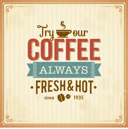 Vintage káva plakát s grunge účinky