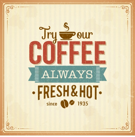 Vintage koffie poster met grunge effecten Stock Illustratie