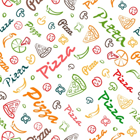 pizza seamless pattern with hand drawn elements  Vector