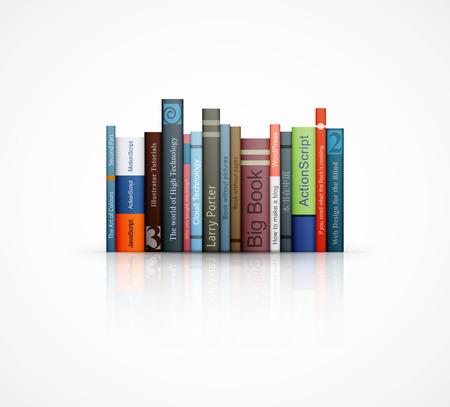 rij van boeken op witte achtergrond vectorillustratie eps10