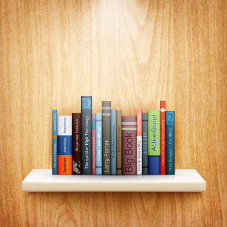 library shelf: books on wooden shelf eps10 vector illustration Illustration