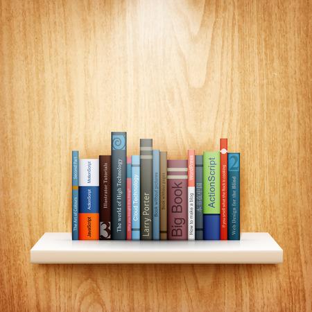 �tag�re bois: livres sur �tag�re en bois vecteur eps10 illustration Illustration