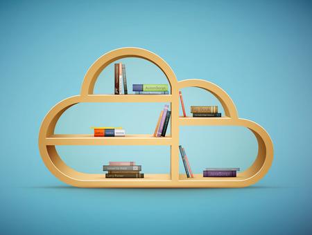 �tag�re bois: livres sur bois plateau nuage vecteur forme eps10 illustration