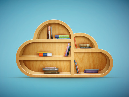 books on a wooden surface: books on wooden shelf cloud shape eps10 vector illustration