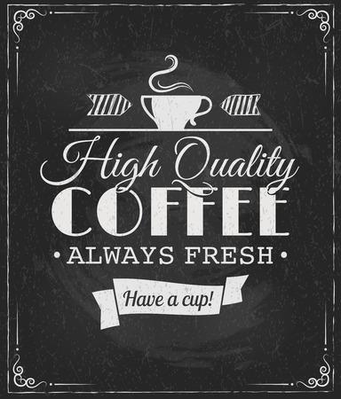 coffee label on chalkboard eps10 vector illustration
