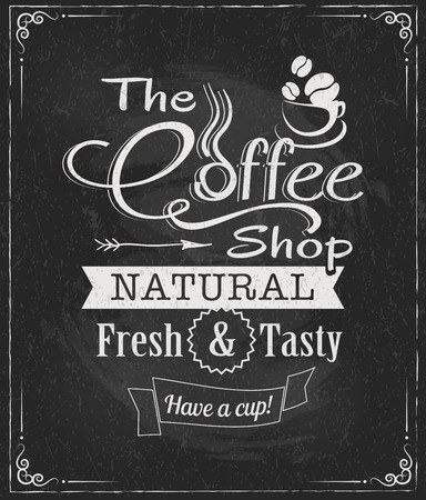 coffee label on chalkboard eps10 vector illustration