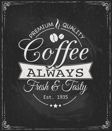 cup of coffee: coffee label on chalkboard eps10 vector illustration
